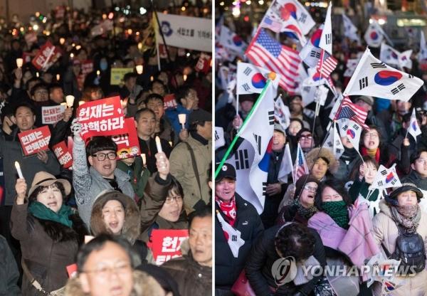 박근혜 대통령 탄핵심판 선고를 하루 앞둔 지난해 3월 9일 오후,서울 헌법재판소 인근에서 열린 탄핵을 촉구하는 촛불집회(왼쪽)와 탄핵 기각을 촉구하는 태극기 집회의 모습